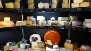 A cheese display inside Beaufils cheesemonger in Paris, France on March 27, 2019.
