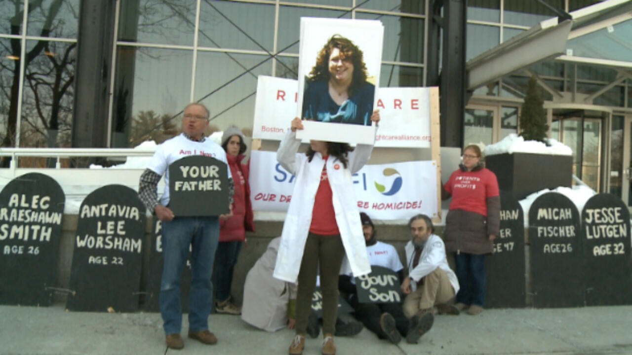 Members of the Right Care Alliance protest against the high price of insulin outside a Sanofi office in Boston, Massachusetts.