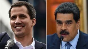 نيكولاس مادورو (يمين) وخوان غوايدو (يسار)
