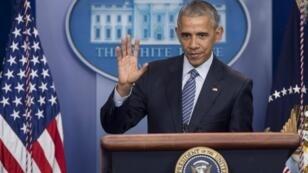 Le président sortant Barack Obama à une conférence de presse dans la Maison Blanche, le 14 novembre 2016.