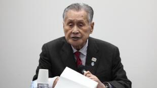 رئيس اللجنة المنظمة لأعاب طوكيو 2020 يوشيرو موري في مؤتمر صحفي، في 30 مارس/آذار 2010.