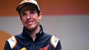 Le pilote espagnol Alex Marquez lors de sa présentation par l'écurie Honda Repsol à Madrid, le 27 février 2020