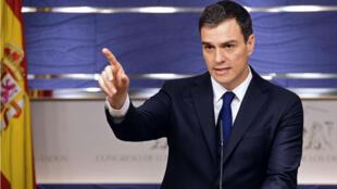 Pedro Sanchez, leader du PSOE, le Parti socialiste espagnol.