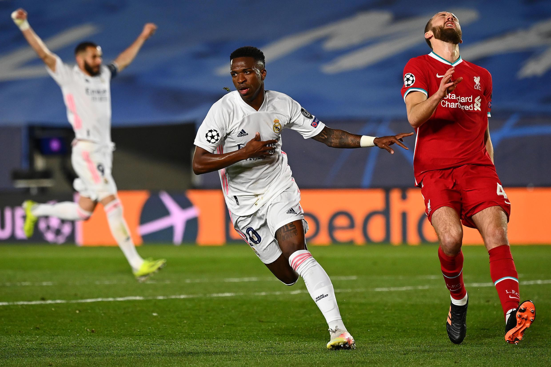 Vinicius Junior (C) put Real Madrid in a commanding position against Liverpool in their quarter-final tie