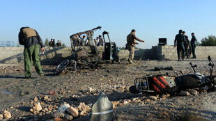 Les forces de sécurité afghanes sur place après l'attentat à  Nangarhar, le 31 décembre.