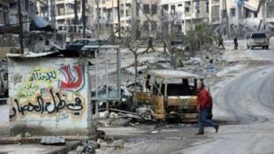مشهد الدمار في حي الأنصاري في حلب في 23 كانون الأول/ديسمبر 2016