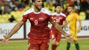 المهاجم السوري عمر السومة، صاحب هدف التعادل أمام أستراليا (1-1) في ذهاب الملحق الآسيوي. 5 تشرين الأول/أكتوبر 2017.