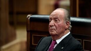 L'ancien roi d'Espagne Juan Carlos lors des commémorations des 40 ans de la Constitution espagnole , en décembre 2018, à Madrid.