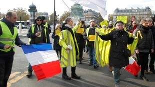 Yellow Vest protesters on Place de la Bastille in Paris on November 17, 2019.