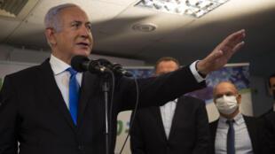 رئيس الوزراء الإسرائيلي بنيامين نتانياهو في الناصرة في 13 كانون الثاني/يناير 2021