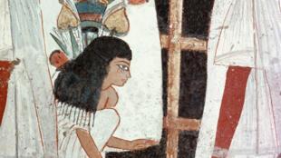 Détail d'une peinture mural dans le tombeau de Nebamun et Ipuki, sculpteurs d'Akhenaton and Toutankhamon, de la 18e dynastie.