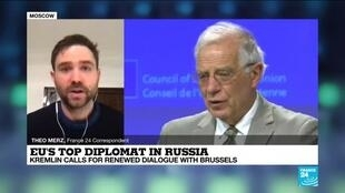 2021-02-04 16:01 Kremlin calls for renewed dialogue with Brussels as top EU diplomat visits
