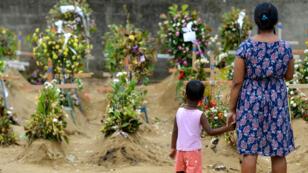Familiares rinden tributo a las víctimas el 28 de abril de 2019, una semana después de una serie de atentados contra iglesias y hoteles de lujo en Sri Lanka.