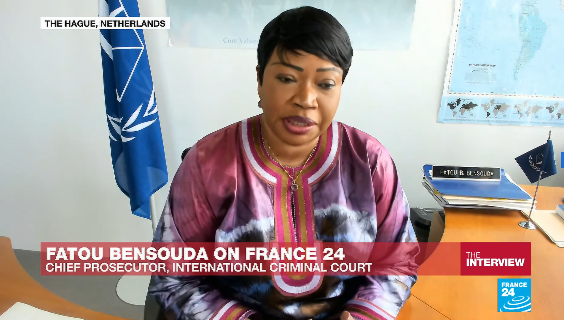 Fatou Bensouda, the chief prosecutor of the International Criminal Court (ICC), speaks to FRANCE 24's Marc Perelman, July 2 2020.