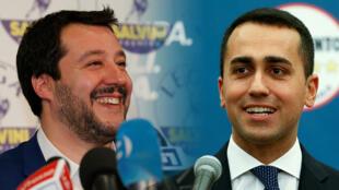 Matteo Salvini de la Liga Norte y Luigi di Maio del Movimiento Cinco Estrellas (M5S).