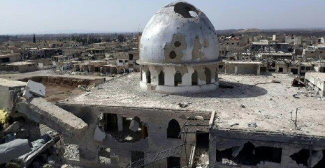 صورة وزعتها وكالة الأنباء السورية تظهر الدمار في بلدة النشابية التي استعادها الجيش السوري في 4 آذار/مارس 2018