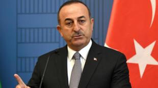 Le ministre turc des Affaires étrangères, Mevlut Cavusoglu, lors d'une conférence à Budapest, le 3 mai 2019.