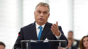 Viktor Orban lors de son audition devant le Parlement européen, le 11 septembre, à Strasbourg.