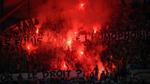 Les banderoles des supporters marseillais lors du match entre l'OM et Saint-Étienne au stade Vélodrome, le 1er septembre 2019.