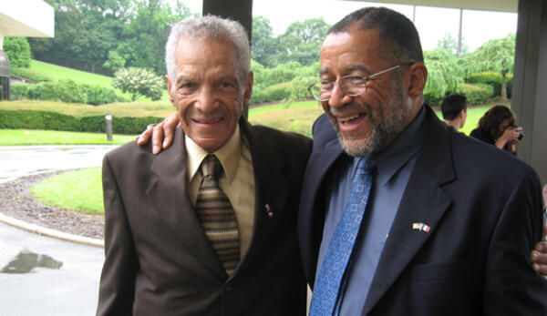 William Dabney and his son, Vinnie Dabney, at the French Embassy in Washington, DC, ahead of their trip to France in 2009.