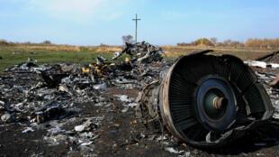 """حطام الطائرة الماليزية """"إم إتش17"""" في شرق أوكرانيا في 17 تموز/يوليو 2014."""