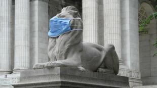 فورتيتود، أحد الأسدين الرخاميين الرابضين أمام مكتبة نيويورك العامة عند تقاطع الجادة الخامسة والشارع 42، وقد وضعت على وجهه كمامة لتشجيع النيويوركيين على الاستمرار بالتزام تدابير التباعد الاجتماعي لمكافحة وباء كوفيد-19 في 8 تموز/يوليو 2020.