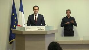 French Health Minister Olivier Véran holds a news conference on Saturday March 21, 2020, to alleviate concerns about the availability of protective masks for health workers and those most at risk from infection by the coronavirus in France.