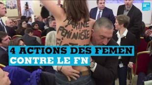 Une Femen se fait extraire d'une salle où Marine Le Pen tient une conférence de presse