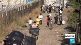 2020-10-15 07:21 Un mois après l'incendie du camp de Moria, les réfugiés de nouveau évacués vers le continent