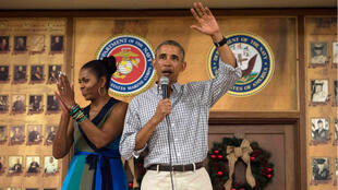 Barack Obama et son épouse Michelle ont effectué leur dernière visite présidentielle à la base militaire de Kaneohe.