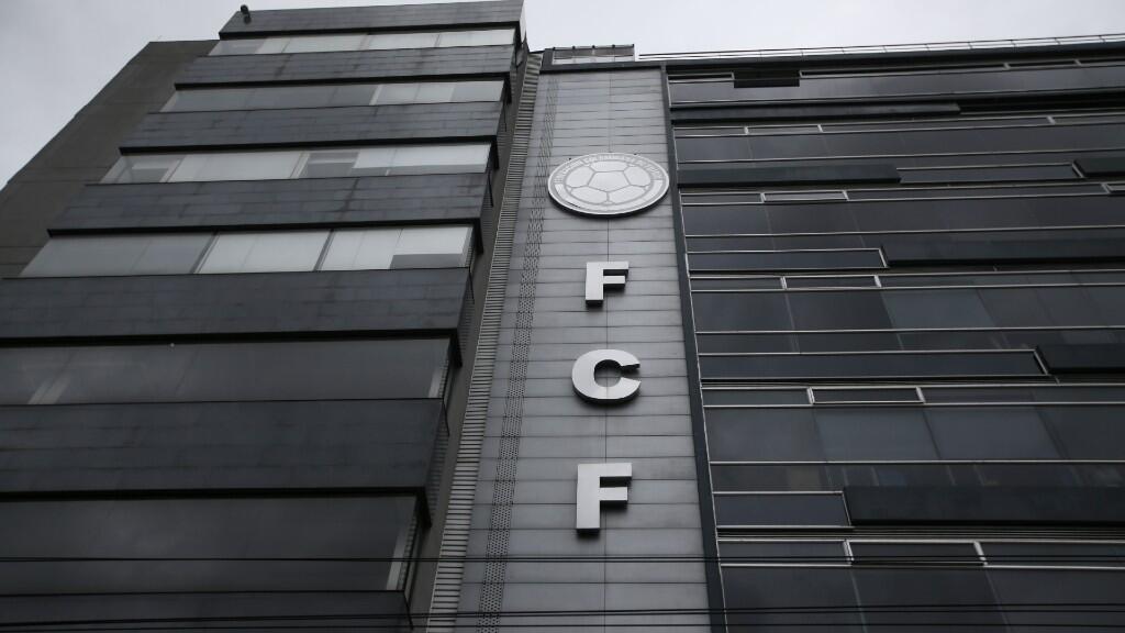 Fachada de la sede de la Federación Colombiana de Fútbol en Bogotá, este 25 de junio de 2020.