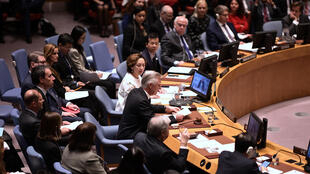 King Philippe of Belgium (C) speaks at a UN Security Council meeting February 12, 2020.