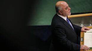 Le Premier ministre irakien, Haïdar al-Abadi, à la tribune de l'ONU, le 22 septembre 2016.