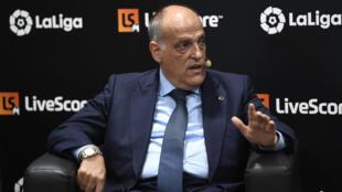 El presidente de la Liga española, Javier Tebas, el 12 de septiembre de 2019 en Madrid