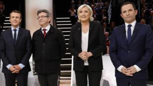 Emmanuel Macron, Jean-Luc Mélenchon, Marine Le Pen et Benoît Hamon, le 20 mars 2017, avant le premier débat télévisé de la campagne présidentielle.