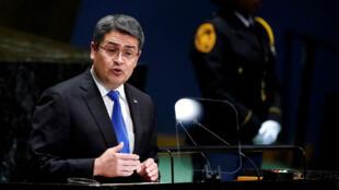 (Archivo) El presidente de Honduras, Juan Orlando Hernández, se dirige a la sesión 74 de la Asamblea General de las ONU en Nueva York, EE. UU., el 25 de septiembre de 2019.