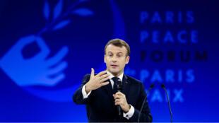 El presidente francés Emmanuel Macron encabeza la apertura del segundo Foro de París sobre la Paz, el 12 de noviembre de 2019.