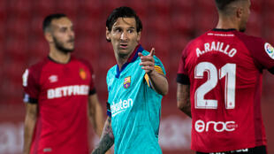 The beard has gone: Lionel Messi sported a new look in Barcelona's first game in three months, a 4-0 win in Mallorca on Saturday