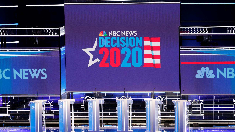 El debate se realiza en Las Vegas, Nevada. 19 de febrero de 2020.