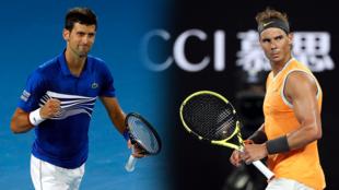 Novak Djokovic (izquierda) y Rafael Nadal (derecha) tras sus respectivos partidos de semifinal en el Abierto de Australia en Melbourne Park, Melbourne, Australia, el 24 y 25 de enero de 2019.