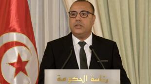 رئيس الوزراء التونسي هشام مشيشي في العاصمة تونس في 3 أيلول/سبتمبر 2020