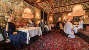 The Inn at Little Washington has collaborated with local businesses on staging, costumes and make-up for the mannequins, strategically placed at tables which must remain empty