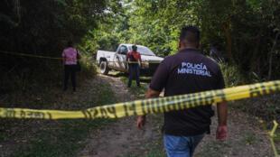 La policía trabaja en la zona donde fue encontrado el cuerpo de la alcaldesa del municipio mexicano de Jamapa, Florisel Ríos Delfin, el 11 de noviembre de 2020 en Ixcoatl, estado de Veracruz, México