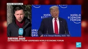 """2020-01-21 12:22 Trump speaks at Davos: """"The tone of the speech very much in praise of his own economic policies"""""""