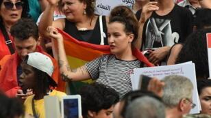 Manifestants à Tunis, le 13 août 2018, pour défendre l'égalité successorale.