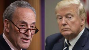 Le chef de file démocrate Chuck Schumer et le président Donald Trump