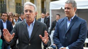 Le parti de droite de l'ancien président Uribe (à gauche) a remporté les législatives et a désigné son candidat à la présidentielle de mai, Ivan Duque (à droite).
