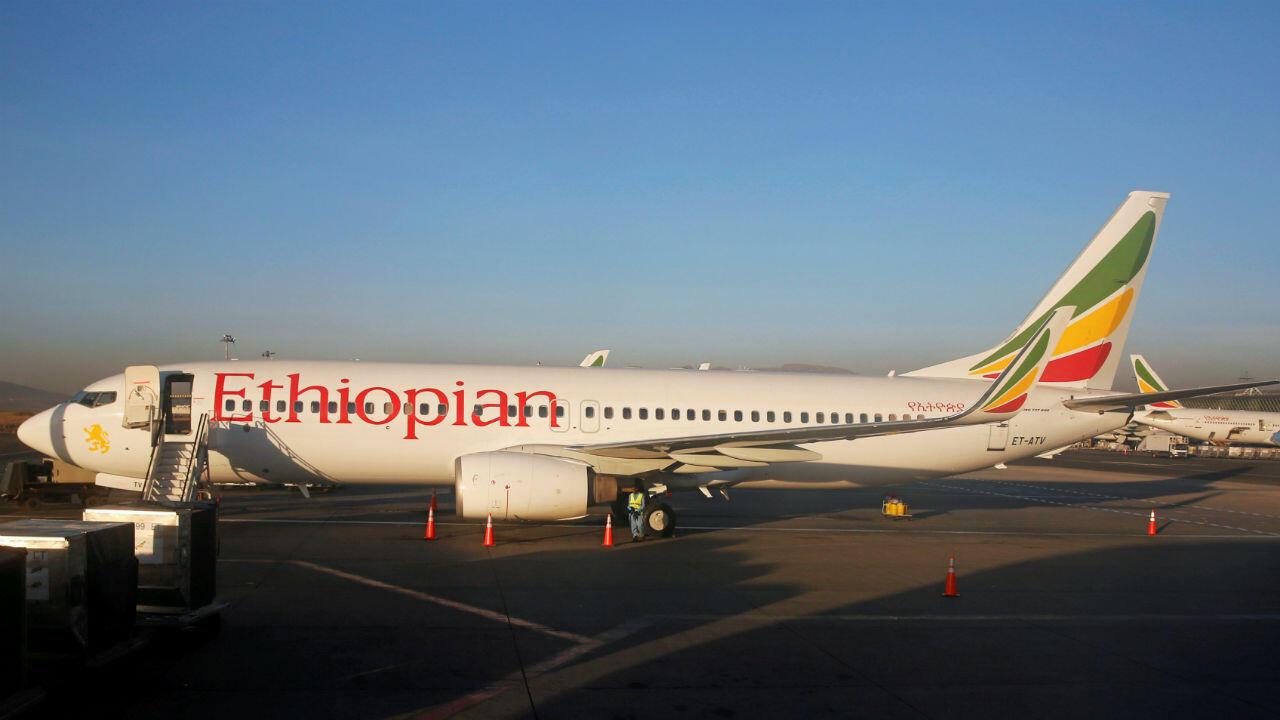 Un Boeing737 de la compagnie Ethiopian Airlines à l'aéroport international d'Addis Abeba, le 26janvier2017.