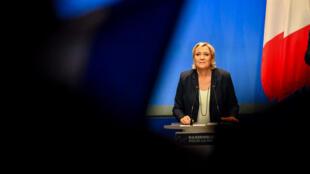 Marine Le Pen, la présidente du Front national, lors du Congrès de son parti le 11 mars 2018 à Lille.