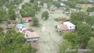 آثار الفيضان في سينتاني بإقليم بابوا الإندونيسي 17 مارس/آذار 2019.